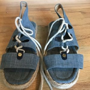 Michael Kors lace up denim sandals